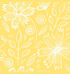 tender yellow pattern with spring flowers vector image