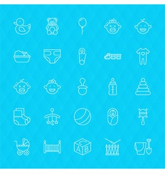 Toys and Baby Line Icons Set over Polygonal vector image