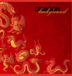 Traditional chinese red dragon background banner vector