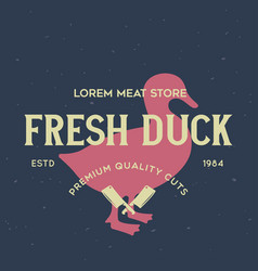 vintage logo for dairy and meat business butcher vector image