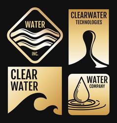 Water logos and labels set with aqua vector