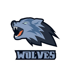 wolf head mascot logo roaring animal vector image