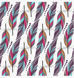 seamless pattern with large colored feathers vector image