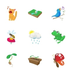 Spring icons set cartoon style vector image vector image