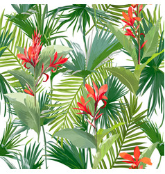 tropical palm leaves and flowers seamless pattern vector image