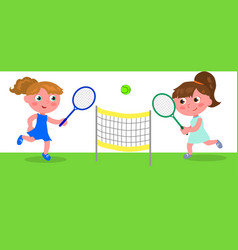 young cartoon woman playing tennis vector image