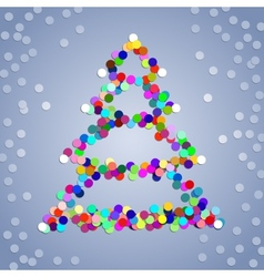 Christmas confetti tree background vector image vector image