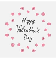 Happy Valentines Day Love card Round frame with vector image