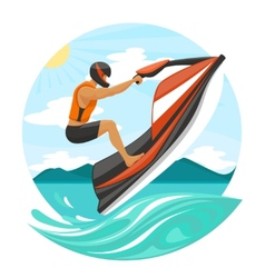 Young Man On Jet Ski vector image