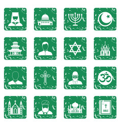religious symbol icons set grunge vector image
