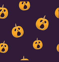 seamless pattern of cry scary halloween pumpkin vector image vector image