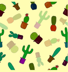seamless pattern with cute cactus on yellow vector image