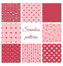 Set of seamless patterns with hearts vector image