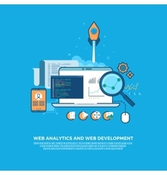 Web analytics information and website development vector image