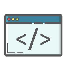 custom coding filled outline icon seo development vector image