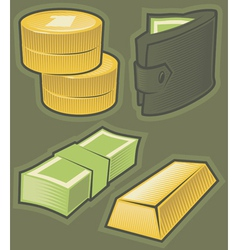 Green icons with money vector image vector image