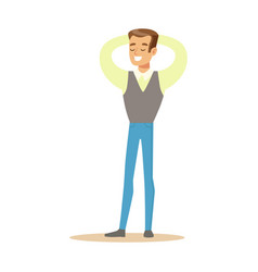 Man in shirt and vest overwhelmed with happiness vector
