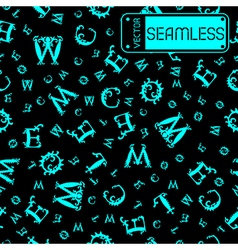 Seamless vintage pattern with cyan curved letters vector image vector image