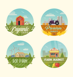 set of isolated farming logo or banners with barn vector image vector image