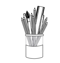 silhuette coloured pencils in jar icon vector image