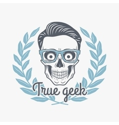 True geek skull with hipster glasses and vector image vector image