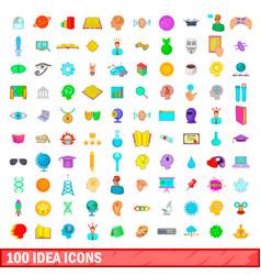 100 idea icons set cartoon style vector image