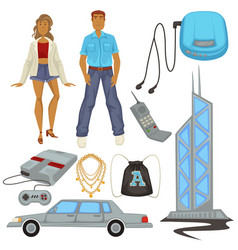 1990s style fashion and technologies epoch vector