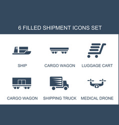 6 shipment icons vector image
