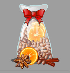 A christmas gift in the form of a transparent vector