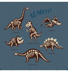 Adorable card with funny dinosaur skeletons in vector
