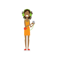 african girl with headphones full length avatar vector image