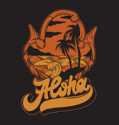 aloha handwritten lettering made in 90s style vector image