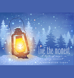 Amazing vintage lantern on snow with magical vector