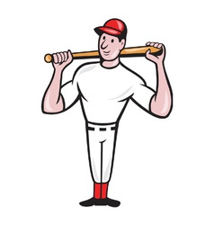 American Baseball Player Batting Cartoon vector image