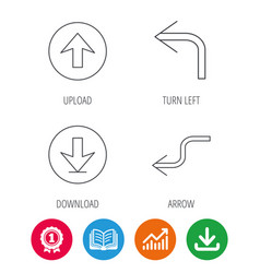 Arrows icons download upload linear signs vector