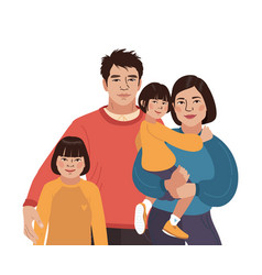 asian smiling family portrait chinese mother vector image