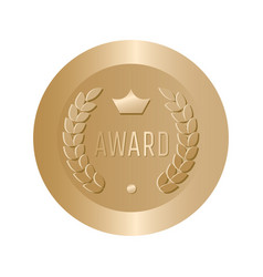 Award gold round sign vector