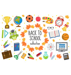 Back to school icon set flat cartoon style vector
