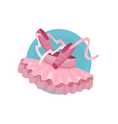 Ballet icon pink ballet shoes and tutu cartoon vector