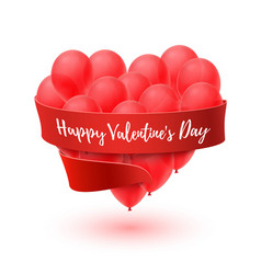 Ballons in form of heart with red ribbon isolated vector