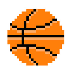 basketball pixel art cartoon retro game style vector image