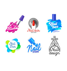 Big set nail art studio icons or logo design vector