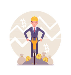 bitcoin minig man business vector image
