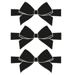 black and white bow silhouette set vector image