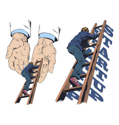 Businessman climbs up stairs help hands ladder vector