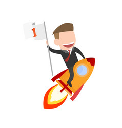 Businessman sitting on a rocket business startup vector