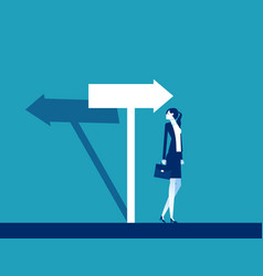 businesswoman confused with direction the vector image