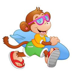 Cartoon monkey with surfboard running vector