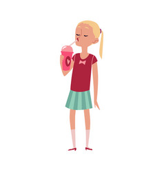 caucasian cute girl eating ice cream flat cartoon vector image