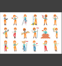Children doing construction work set of bright vector